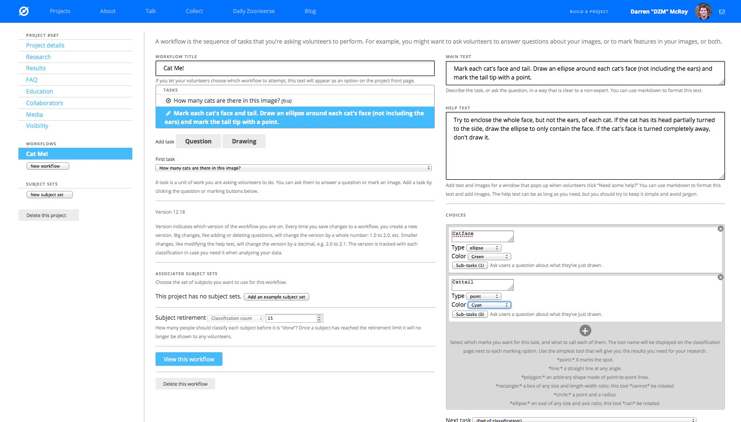 Project workflow task editing screenshot